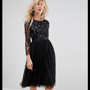 Needle & Thread Black Beaded Embellished Midi